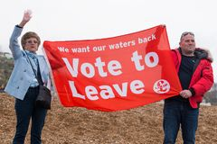 Fishing For Leave protest by fishermen and locals at Hastings in England. royalty free stock photos
