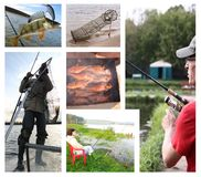 Fishing leisure people collage Stock Image