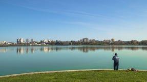 Fishing - leisure time on the lake Royalty Free Stock Photo