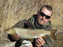 Fishing - lenok trout fishing in Mongolia Stock Photography