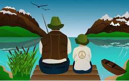 Fishing lessons. With father and son in a natural landscape Vector Illustration