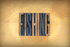 Fishing Letterpress Royalty Free Stock Photography