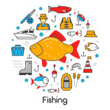 Fishing Line Art Thin Icons Set. Fishing Line Art Thin Vector Icons Set with Fisherman and Tools Royalty Free Stock Photo