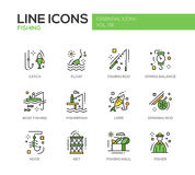 Fishing - line design icons set Stock Photos