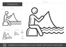 Fishing line icon. Fishing vector line icon isolated on white background. Fishing line icon for infographic, website or app. Scalable icon designed on a grid Stock Images
