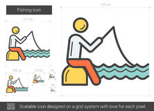 Fishing line icon. Fishing vector line icon isolated on white background. Fishing line icon for infographic, website or app. Scalable icon designed on a grid Stock Photos