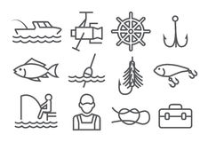 Fishing Line Icons Stock Photo