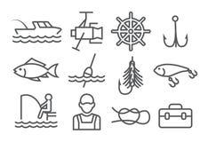 Fishing Line Icons. On white Stock Photo