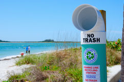 Fishing line recycling station at beach park Stock Photography