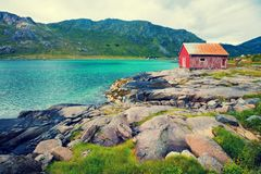 Fishing lodge on the sea coast Stock Photo
