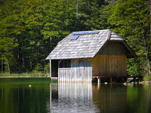 Fishing lodge with Solar array Royalty Free Stock Image
