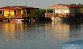 Fishing lodges near Sacca Scardovari in the river delta bit in the province of Rovigo in the Veneto (Italy) Royalty Free Stock Photos