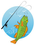 Fishing logo. Vector picture of hooked fish and fishing road royalty free illustration