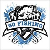 Fishing logo. Bass fish with club emblem. Fishing theme vector illustration. Fishing logo. Bass fish with template club emblem. Fishing theme vector stock illustration