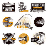 Fishing Logo Emblems Stock Images