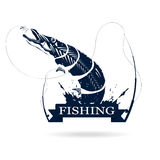 Fishing logo. Monochrome illustration of pike with fishing rod and bait Stock Photo
