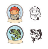 Fishing logo set. Fish on a fishing hook and sailor with pipe. Fish On A Fishing Hook And Sailor With Pipe. Portrait Character. Fishing Vector Labels. Fishing Royalty Free Stock Photography