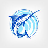 Fishing logo template - Blue marlin vector sign. Stock Photography