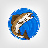 Fishing logo template - Vector Illustration. Vector fishing logo. Catching salmon fish on the hook. Round blue background Stock Photography