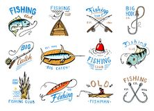 Fishing logo vector fishery logotype with fisherman in boat and emblem with catched fish on fishingrod illustration set. For fishingclub isolated on white Stock Image