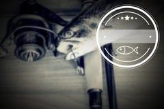 Fishing, logo, vintage effect Royalty Free Stock Photography