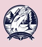 Fishing logos vector by hand drawing. Salmon art highly detailed in line art style.Salmon fish are jumping Snatch lure fake bait.Fishing logos for tournament Royalty Free Stock Photo