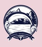 Fishing logos vector by hand drawing. Salmon art highly detailed in line art style.Salmon fish are jumping Snatch lure fake bait.Fishing logos for tournament Royalty Free Stock Photos