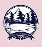Fishing logos vector by hand drawing. Salmon art highly detailed in line art style.Salmon fish are jumping Snatch lure fake bait.Fishing logos for tournament Stock Photos