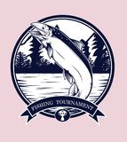 Fishing logos vector by hand drawing. Salmon art highly detailed in line art style.Salmon fish are jumping Snatch lure fake bait.Fishing logos for tournament Stock Photography