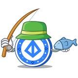 Fishing loopring coin mascot cartoon. Vector illustration Royalty Free Stock Photos