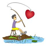 Fishing for love Royalty Free Stock Photos