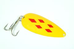 Fishing Lure. A fishing lure on a white background stock image