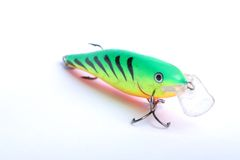 Fishing lure. Floating wobbler in white background Stock Photos