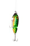Fishing lure. Floating wobbler hanging in front of white background Stock Image
