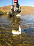 Fishing lure. Fishing on river in Indian summer Stock Photo