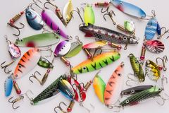 Fishing lure, bait spoon. Recreation sport equipment Royalty Free Stock Image