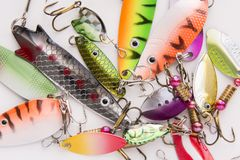 Fishing lure, bait spoon. Recreation sport equipment Stock Photos