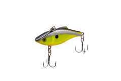 Fishing lure for catching predator isolated on white background. Hard bait lure for catching predatory fish equipped with triple hooks isolated on white Stock Images
