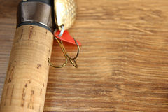 Fishing lure and rod Royalty Free Stock Photo