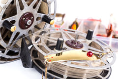 Fishing lure in storage box and lading reels Stock Photography
