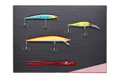 Fishing lure on tray Stock Photography