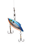Fishing lure on white. A fishing lure with hooks on a white background Stock Images
