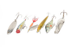 Fishing lures. Of different types on a white background Royalty Free Stock Images