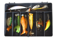 Fishing lures. Angler's box: set of fishing lures Royalty Free Stock Images
