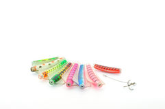 Fishing lures. With hooks isolated on white Stock Photos