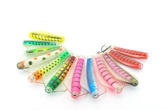 Fishing lures. Fanned out and isolated on white Stock Image