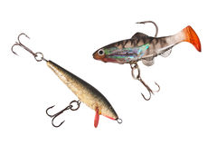 Fishing lures. Two fishing lures isolated on a white background Stock Photo