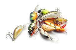 Fishing lures. Over white background Royalty Free Stock Images