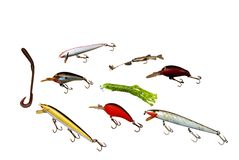 Fishing Lures. Isolated fishing lures on a white background Royalty Free Stock Image