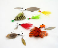 Fishing lures. Assorted fishing lures, different colors stock images